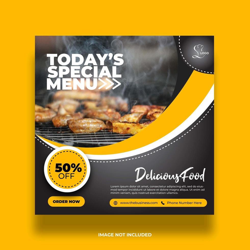 banner colorato cibo giallo minimo per post sui social media vettore