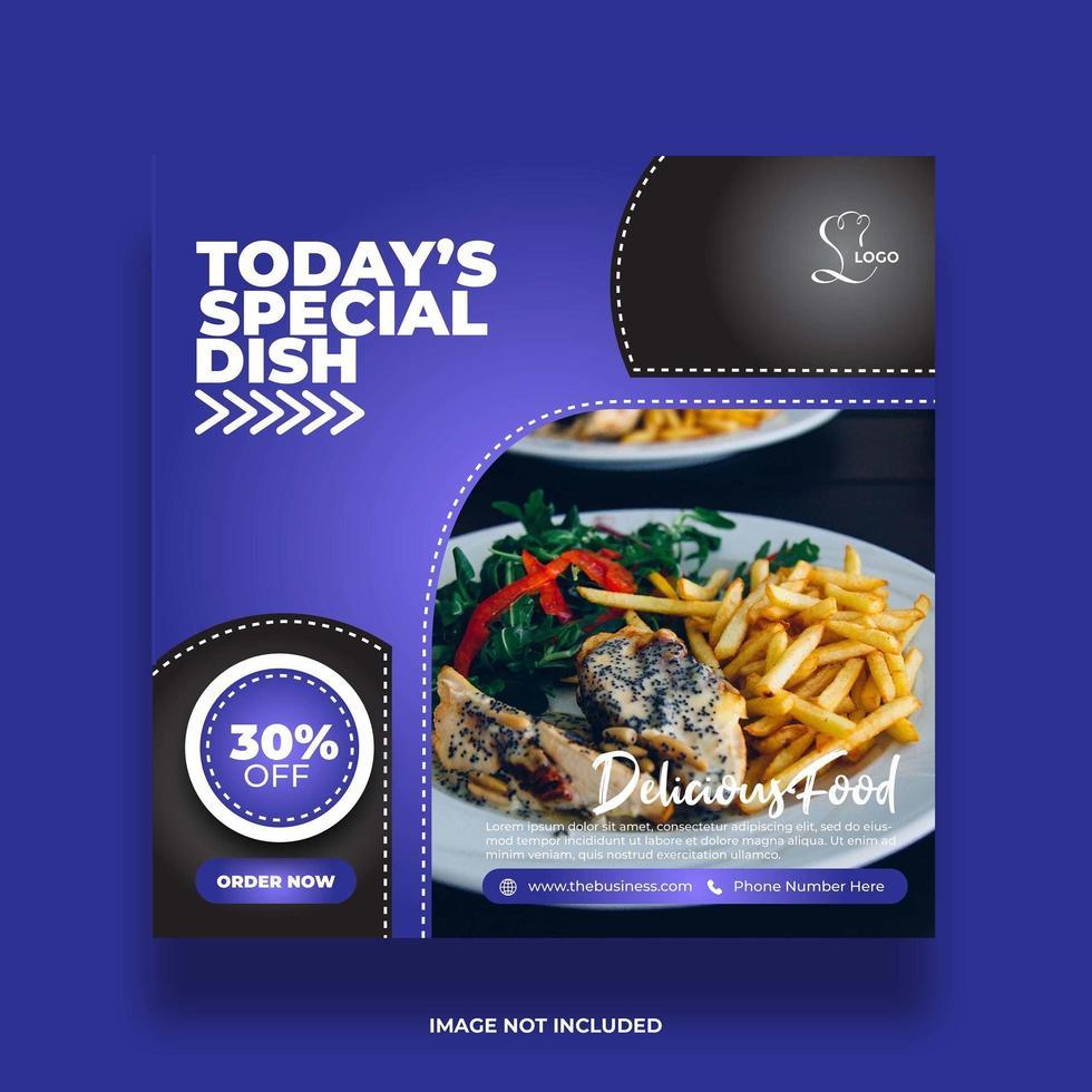 banner di social media colorato cibo blu minimo vettore