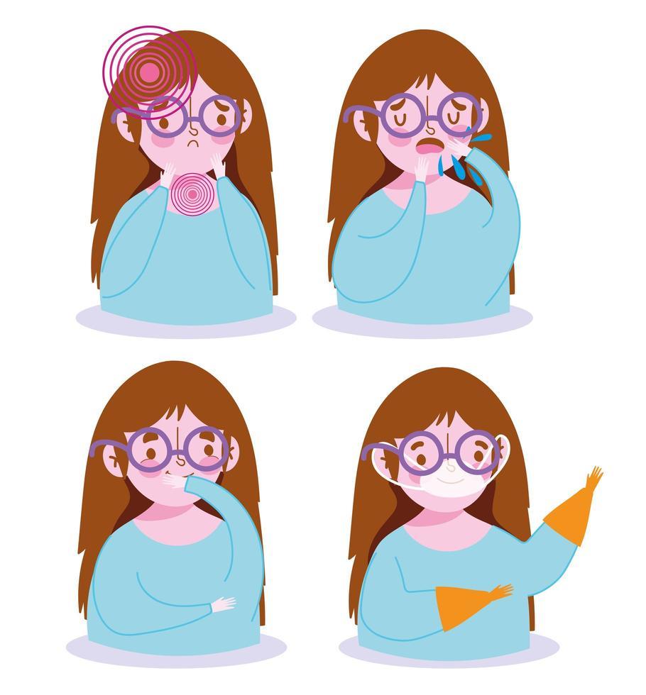 ragazza con sintomi di malattia e set di icone di prevenzione vettore