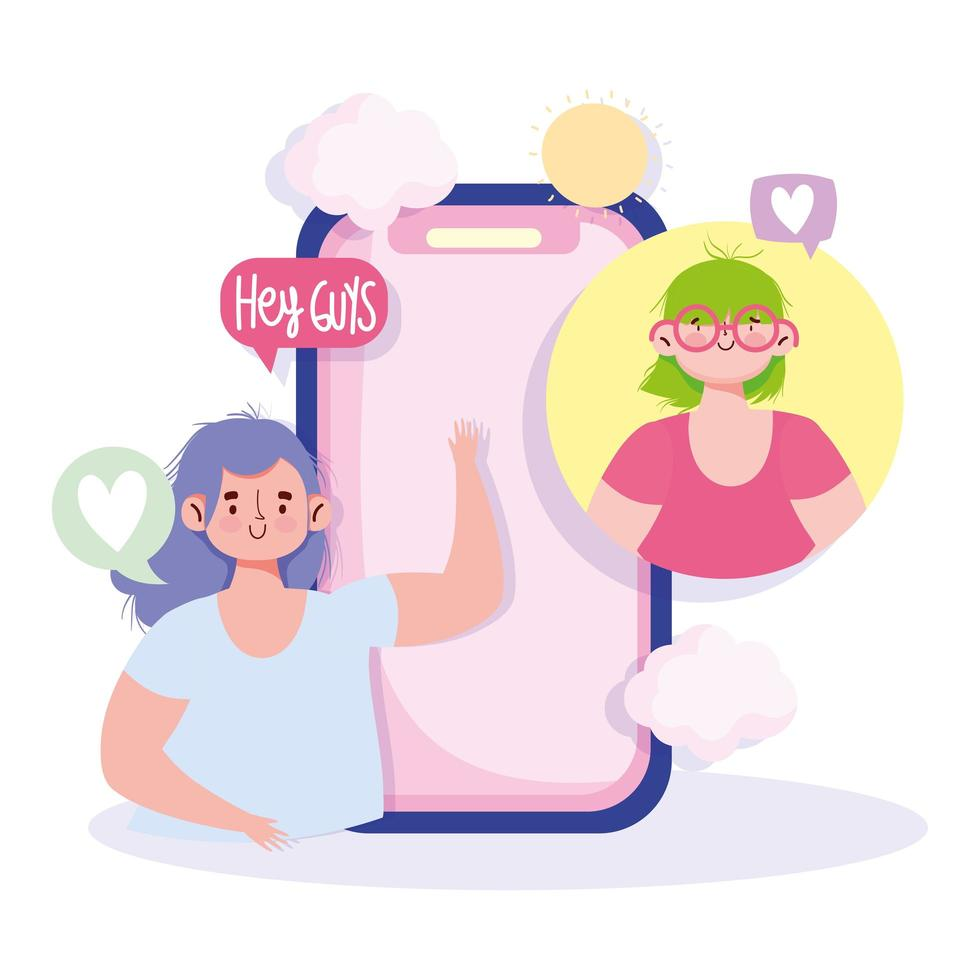 ragazze con fumetti che interagiscono tramite smartphone vettore
