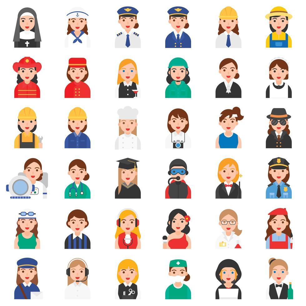 set di icone di professione femminile vettore