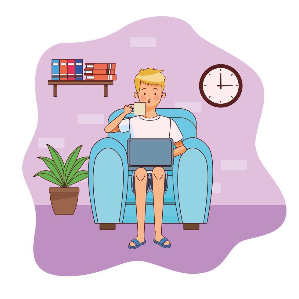 uomo con il computer portatile in ufficio a casa vettore