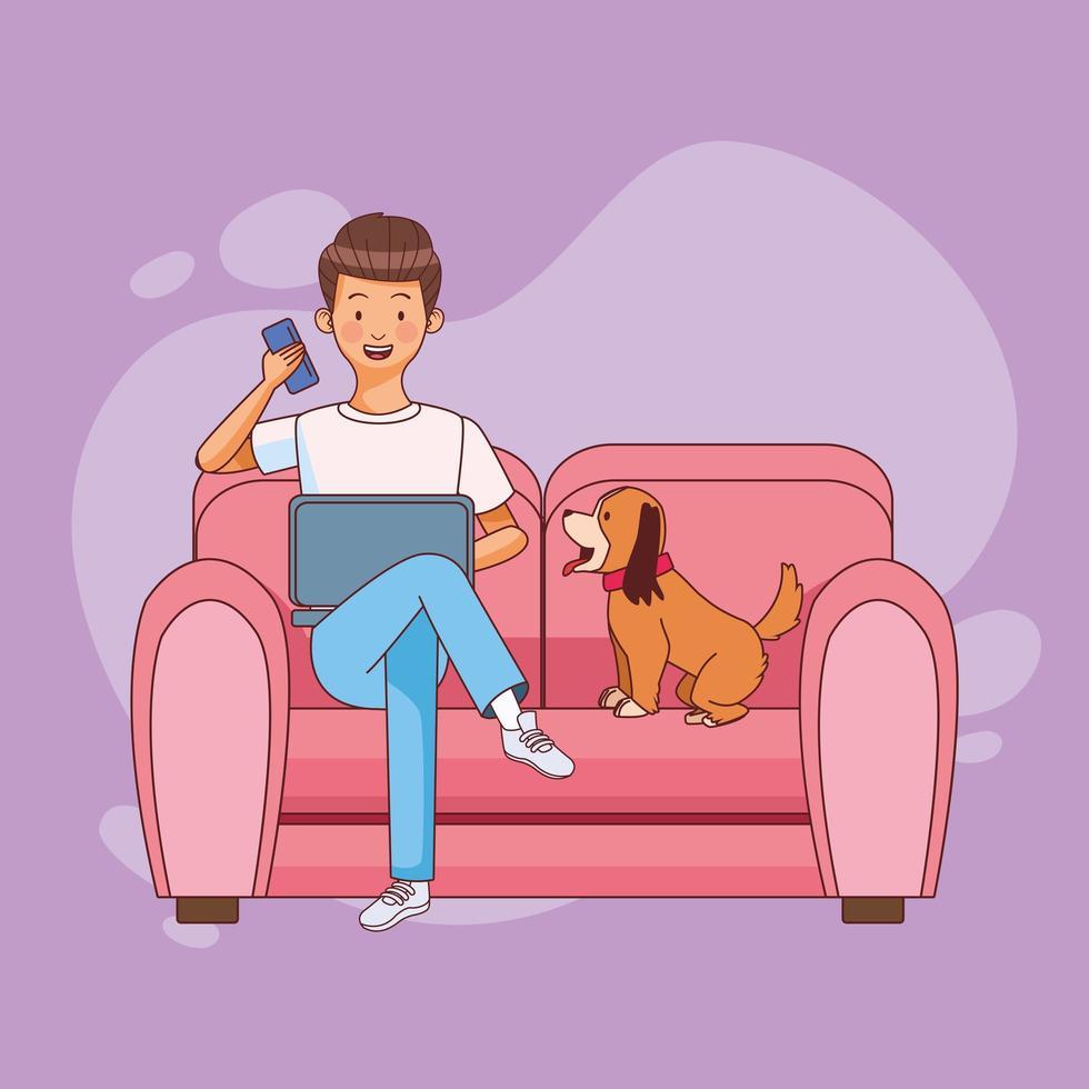 uomo con laptop e cane in ufficio a casa vettore