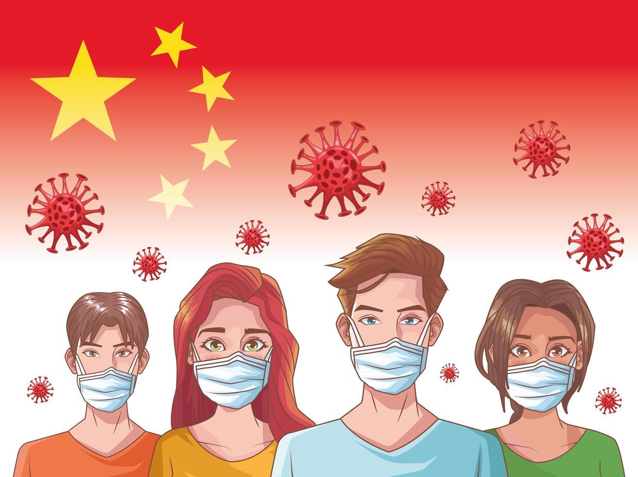 infografica di coronavirus con persone che indossano maschere vettore