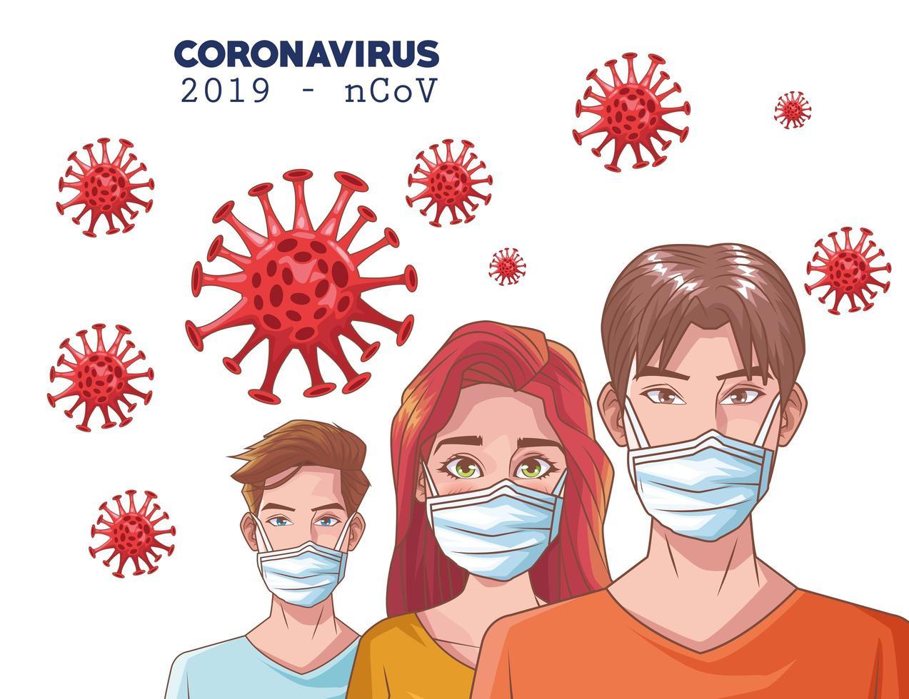 infografica di coronavirus con persone che usano la maschera vettore