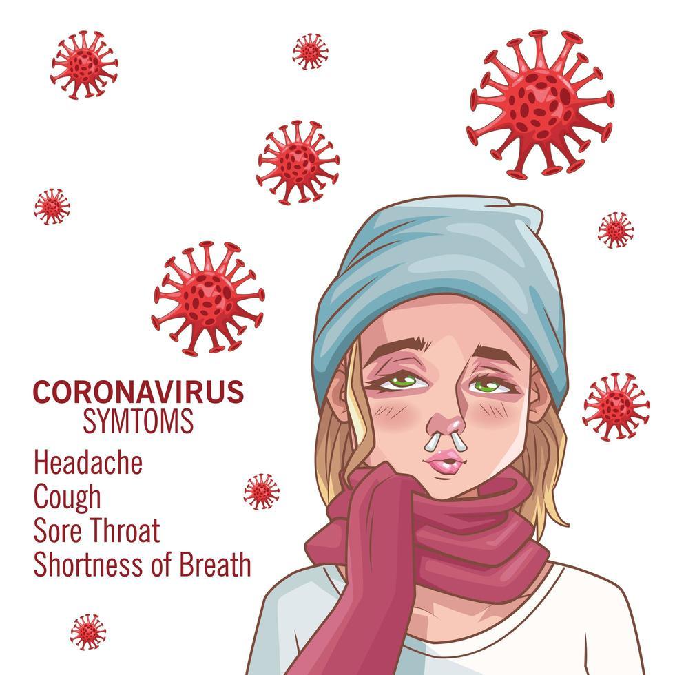 infografica di coronavirus con giovane donna malata vettore