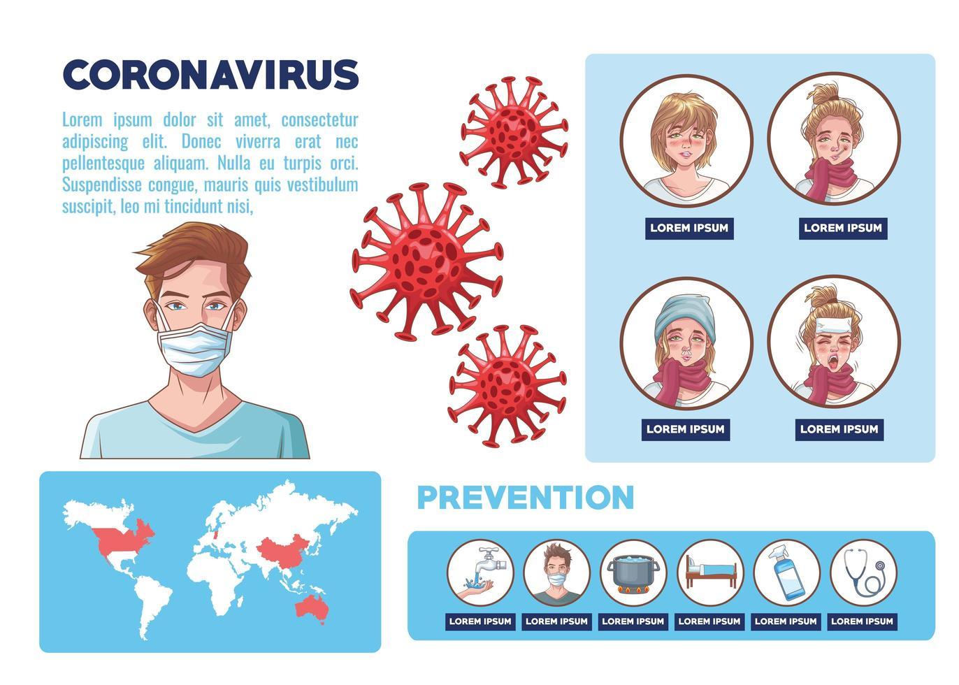 infografica di coronavirus con grafici di sintomi e prevenzione vettore
