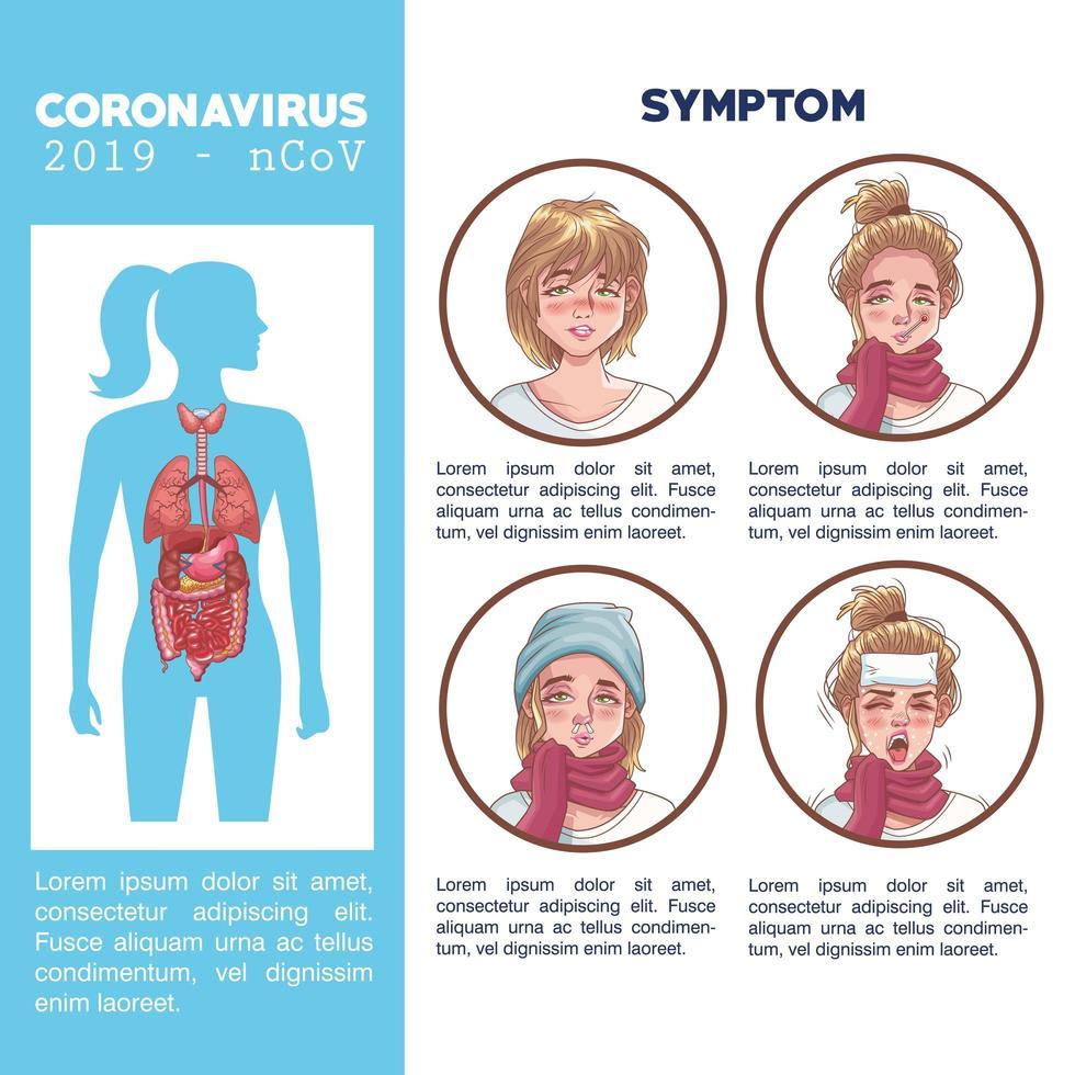 poster di infografica contenente sintomi di coronavirus vettore