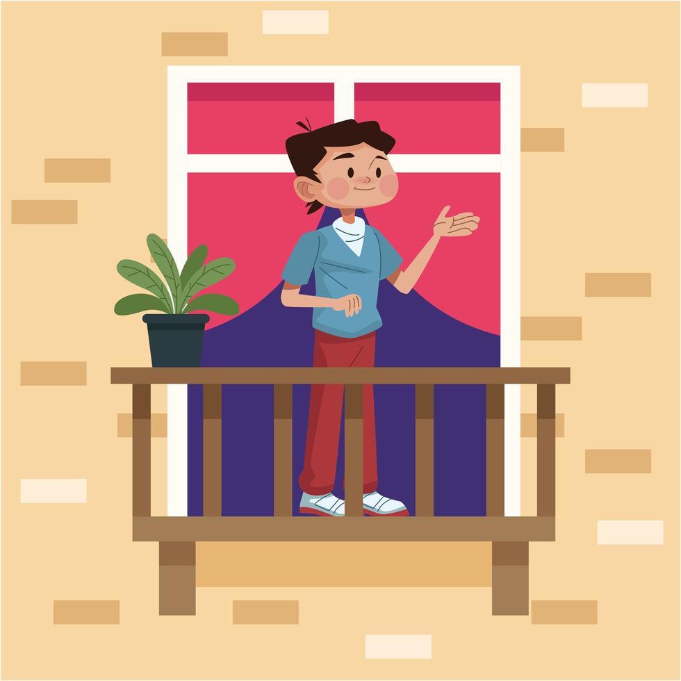 giovane uomo nel balcone del suo appartamento vettore