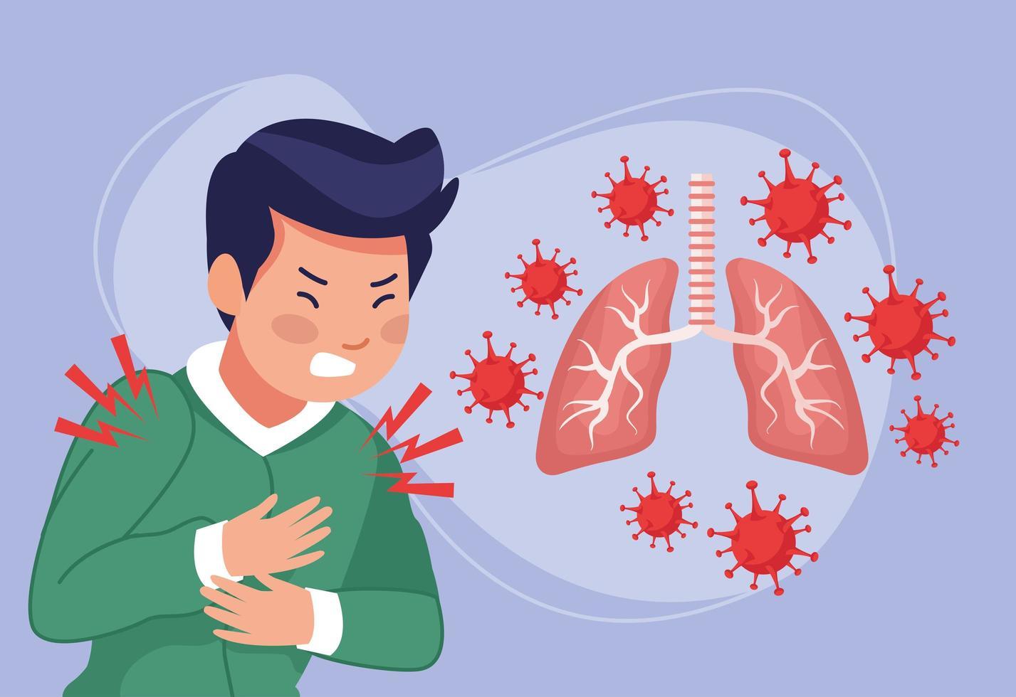 giovane uomo malato con dolore toracico e polmoni vettore