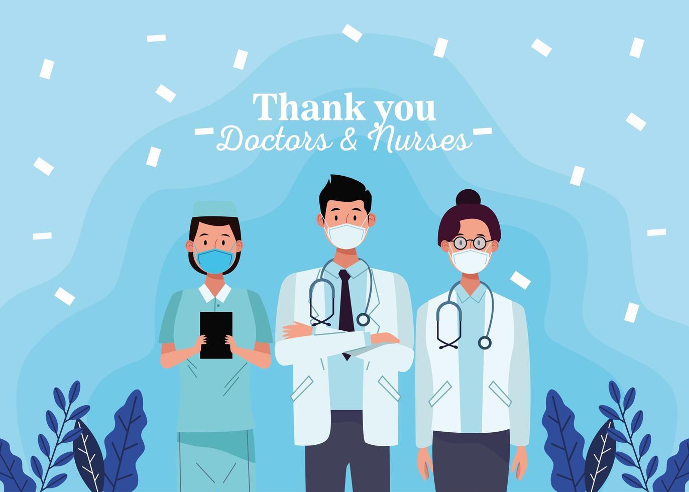 gruppo di personaggi del personale di medici con messaggio vettore