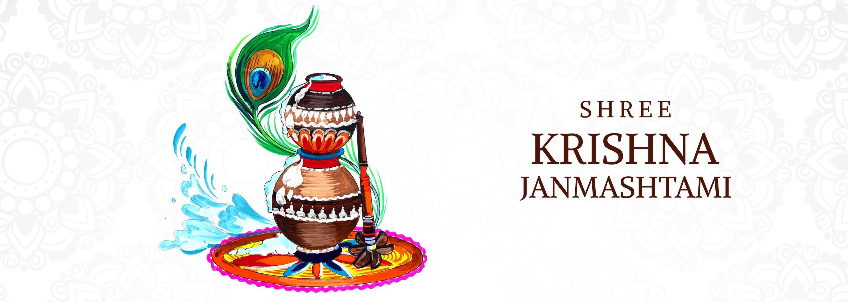 vasi impilati colorati religiosi krishna janmashtami banner vettore