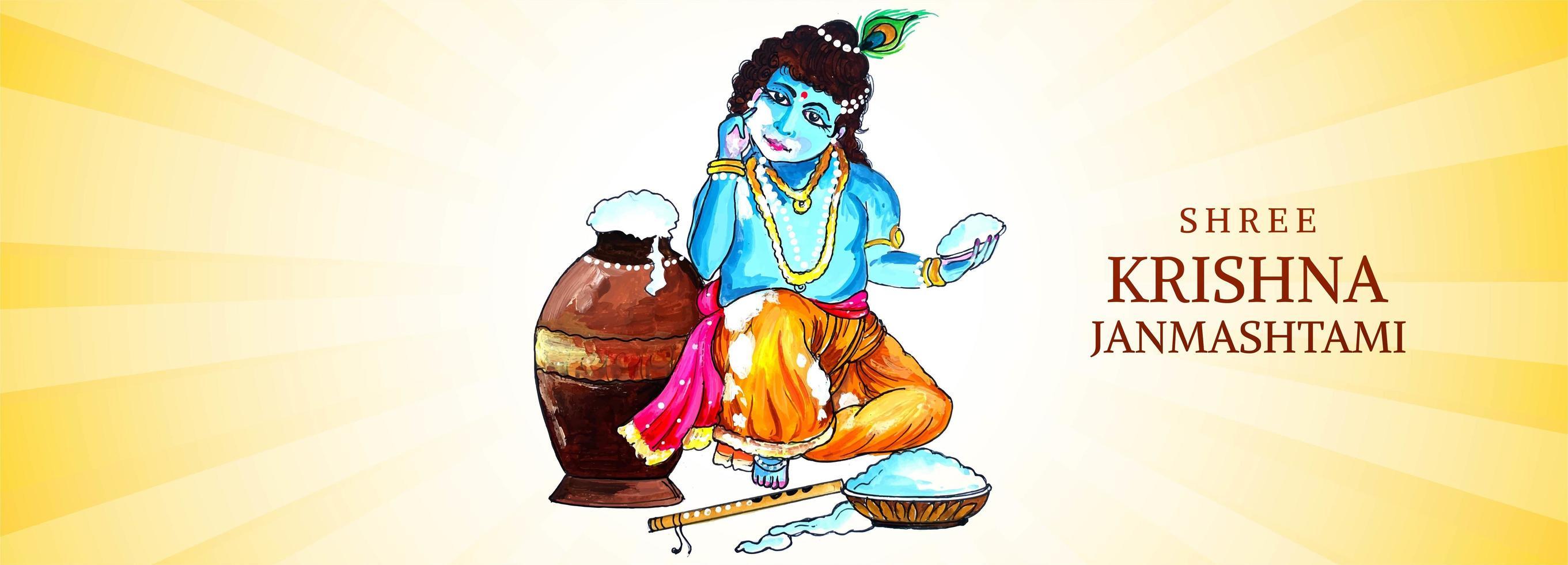 Lord Krishna con in mano una manciata di porridge janmashtami banner vettore