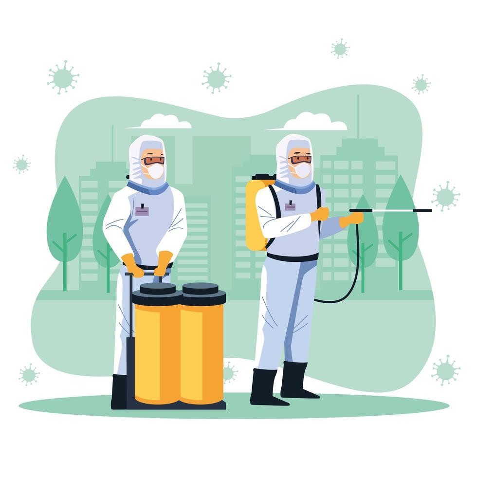 i lavoratori della biosicurezza disinfettano la strada vettore