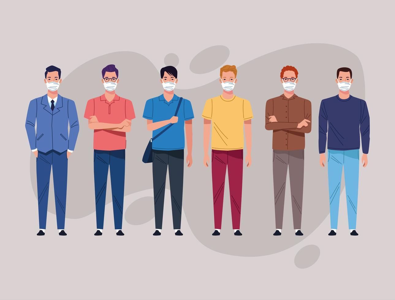 gruppo di uomini che usano la maschera per il viso vettore