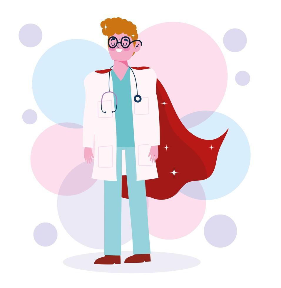 eroe personaggio maschio medico con stetoscopio e cappotto vettore