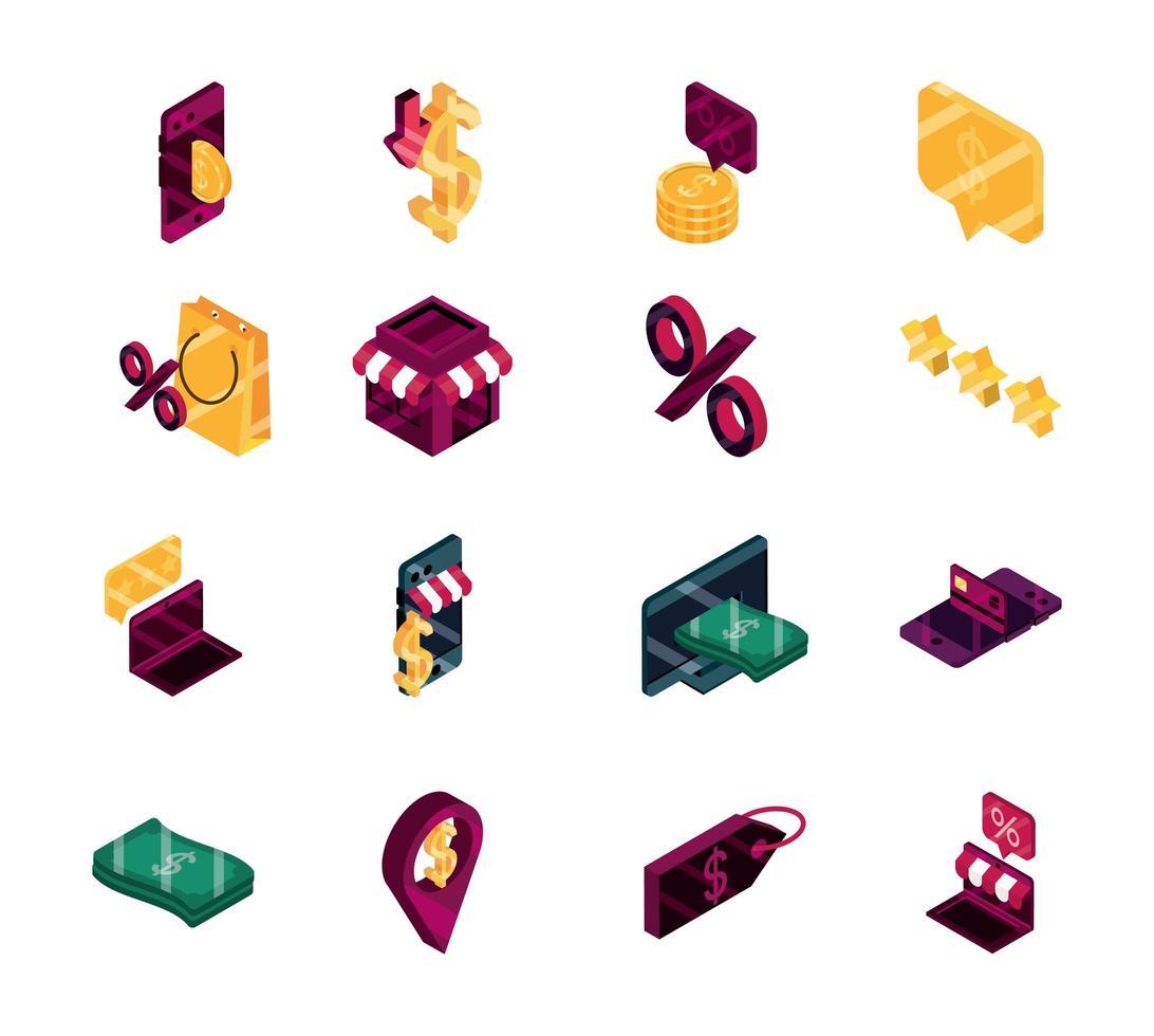 shopping online e collezione di icone isometriche di e-commerce vettore