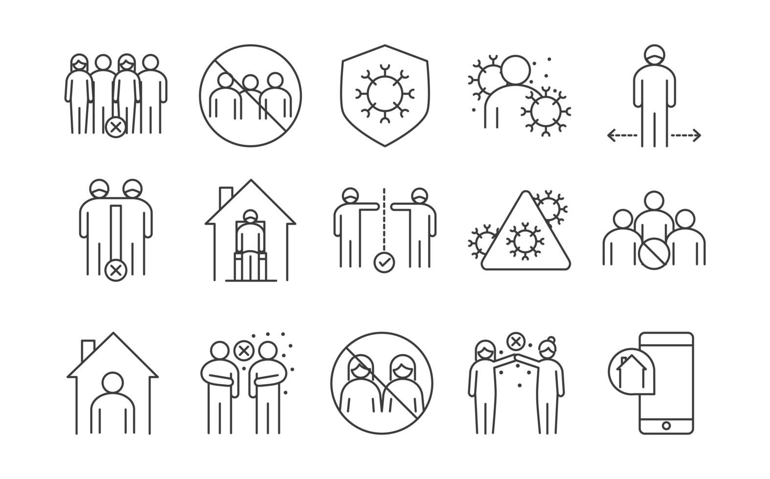 set di icone a riga singola di infezione virale vettore