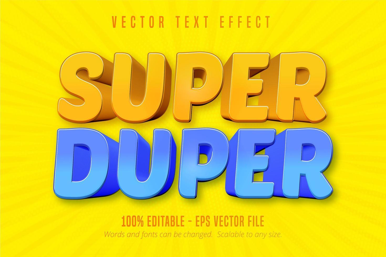 testo super duper, effetto di testo modificabile in stile cartone animato vettore