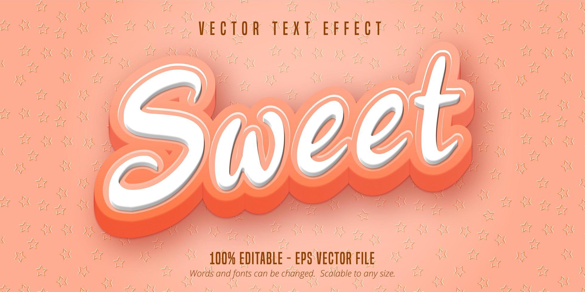 testo rosa dolce, effetto testo in stile cartone animato vettore
