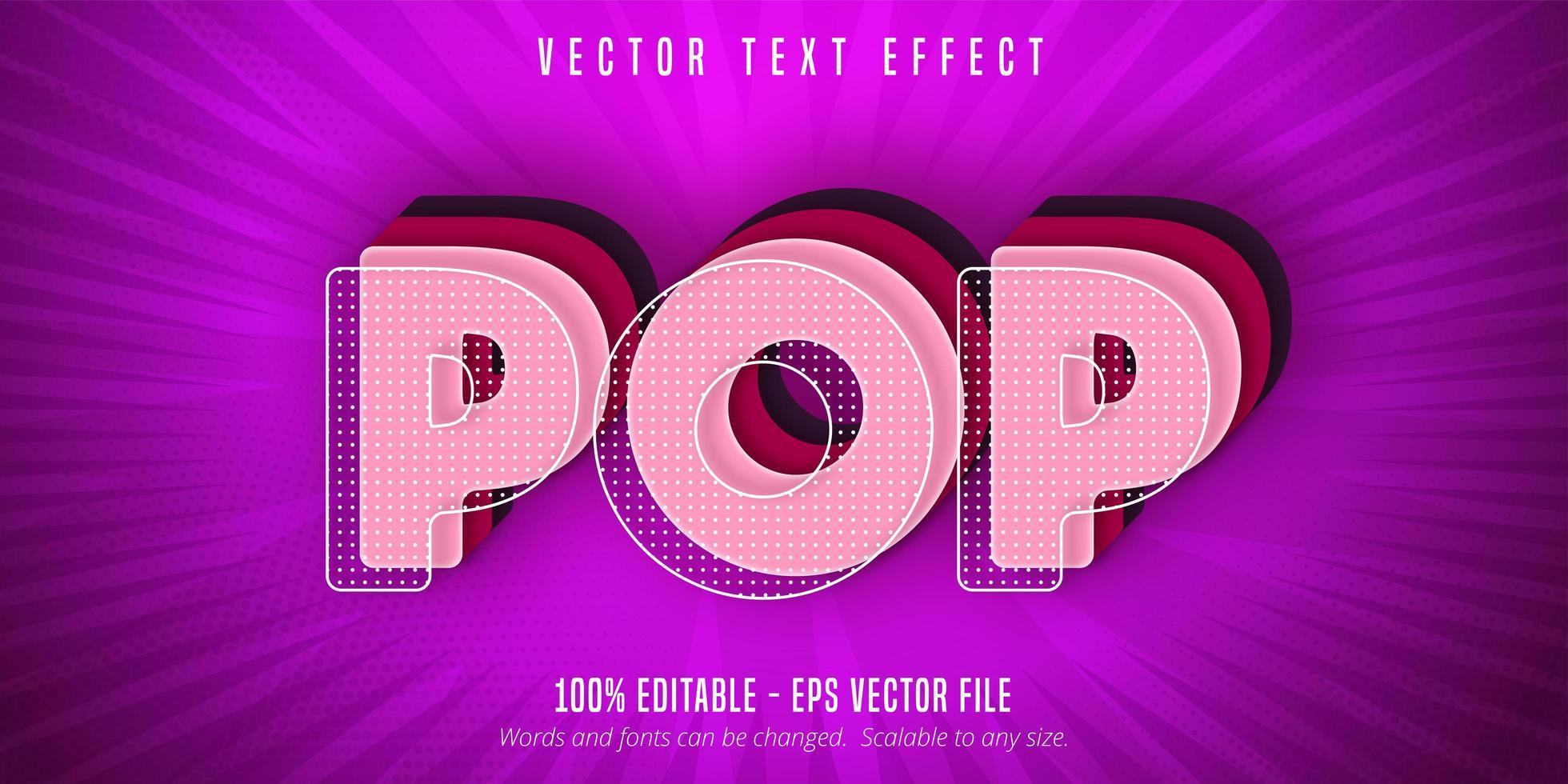 testo pop rosa, effetto testo in stile pop art vettore