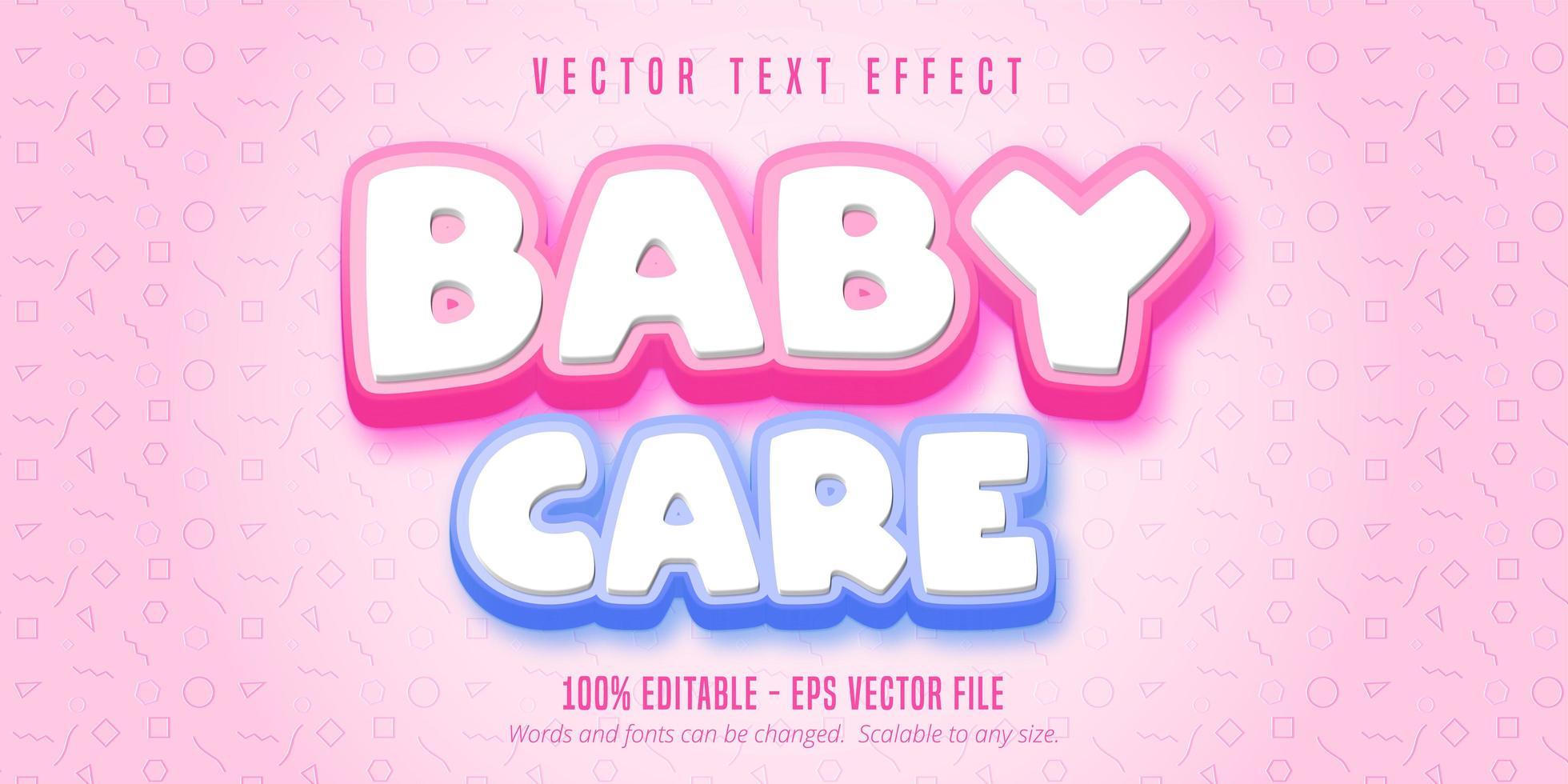 testo per la cura del bambino, effetto di testo in stile cartone animato vettore