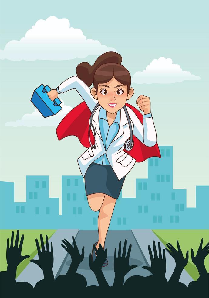 super dottoressa in esecuzione con kit medico vettore