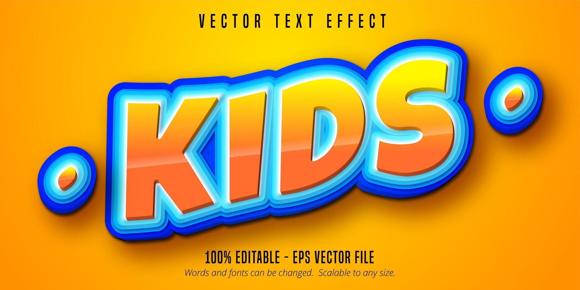 testo per bambini, effetto di testo in stile cartone animato vettore