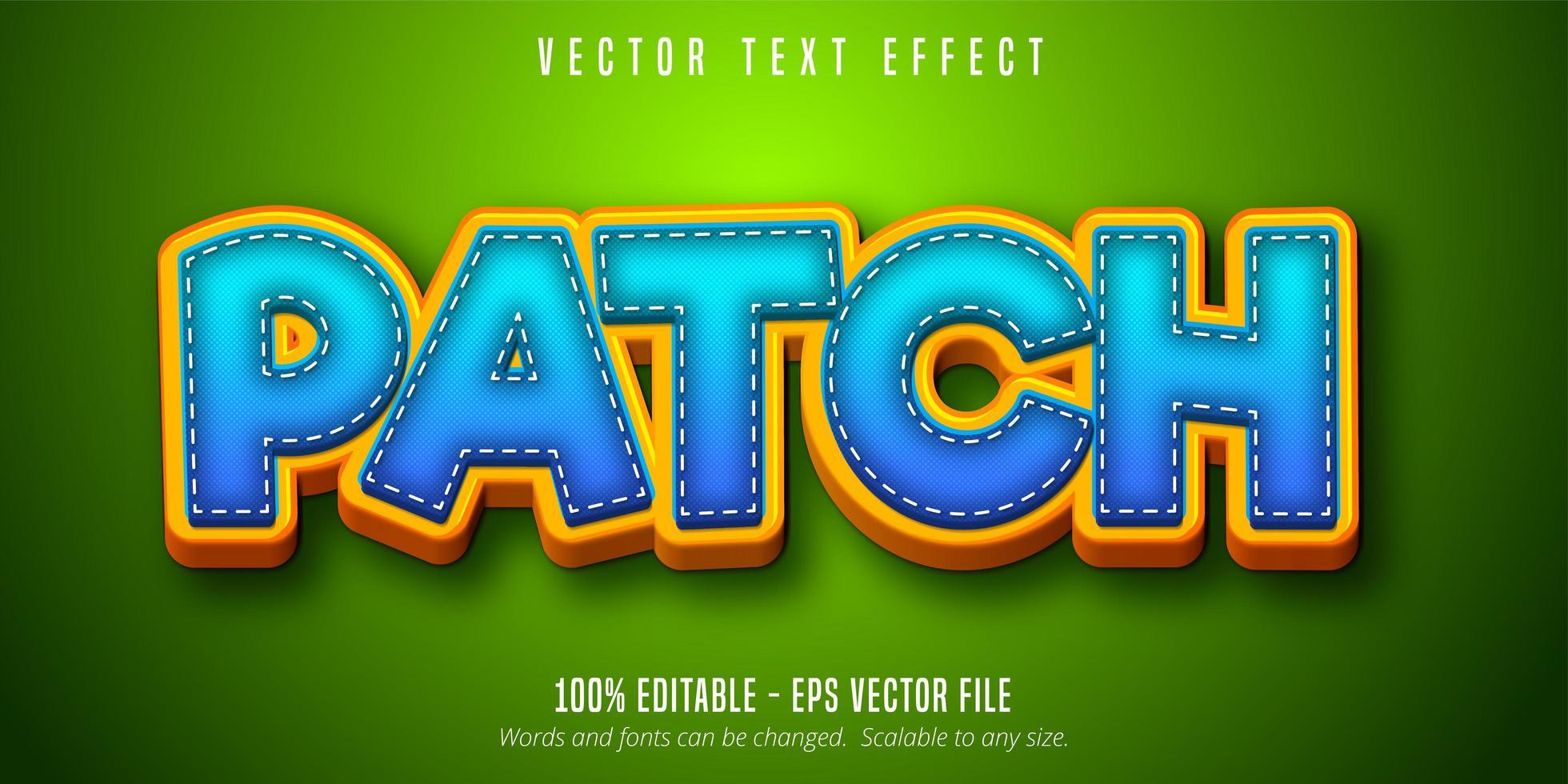 testo patch, effetto testo in stile cartone animato vettore