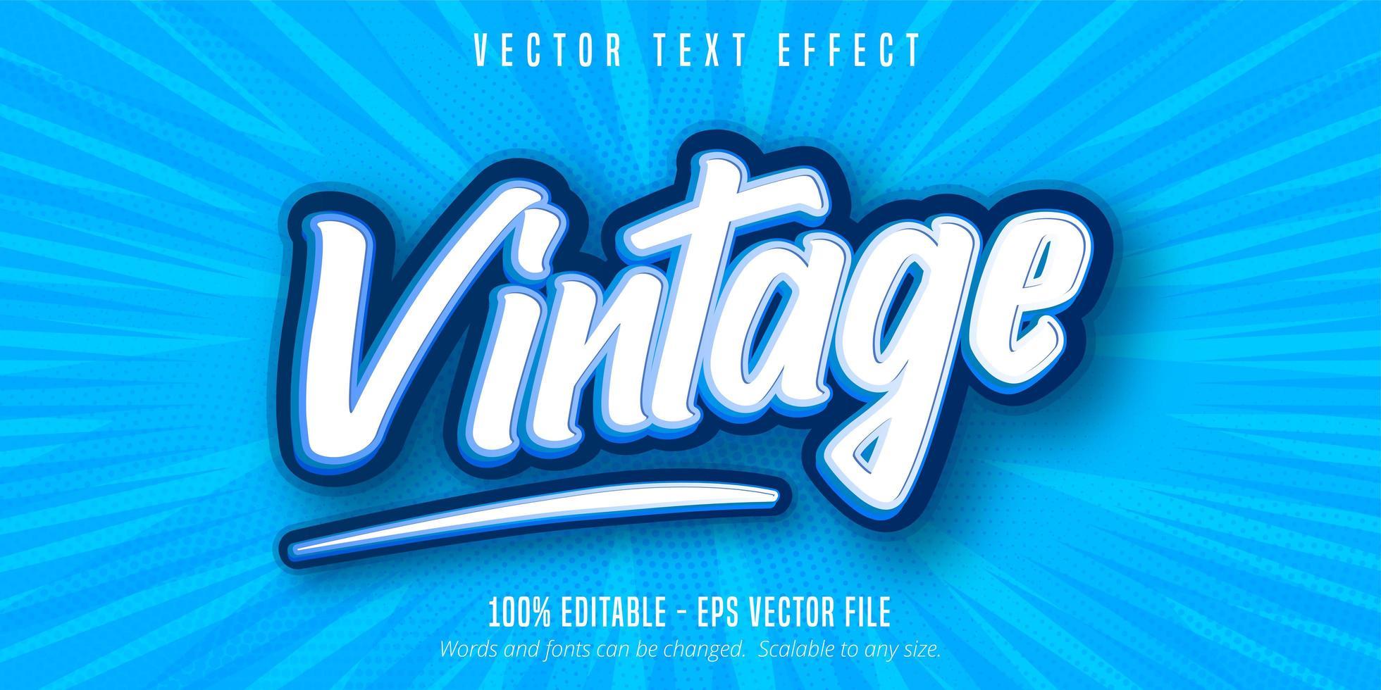 testo vintage, effetto di testo in stile pop art vettore