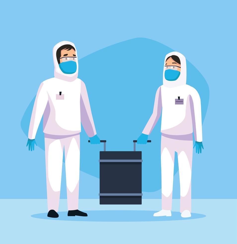 persone che puliscono a rischio biologico con caratteri speciali vettore
