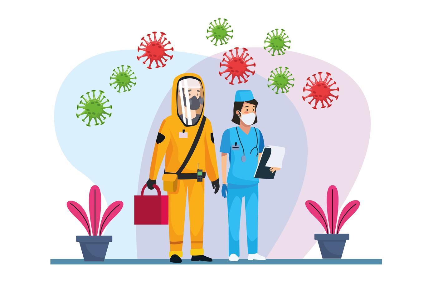 persona addetta alle pulizie a rischio biologico con infermiera e covid19 vettore