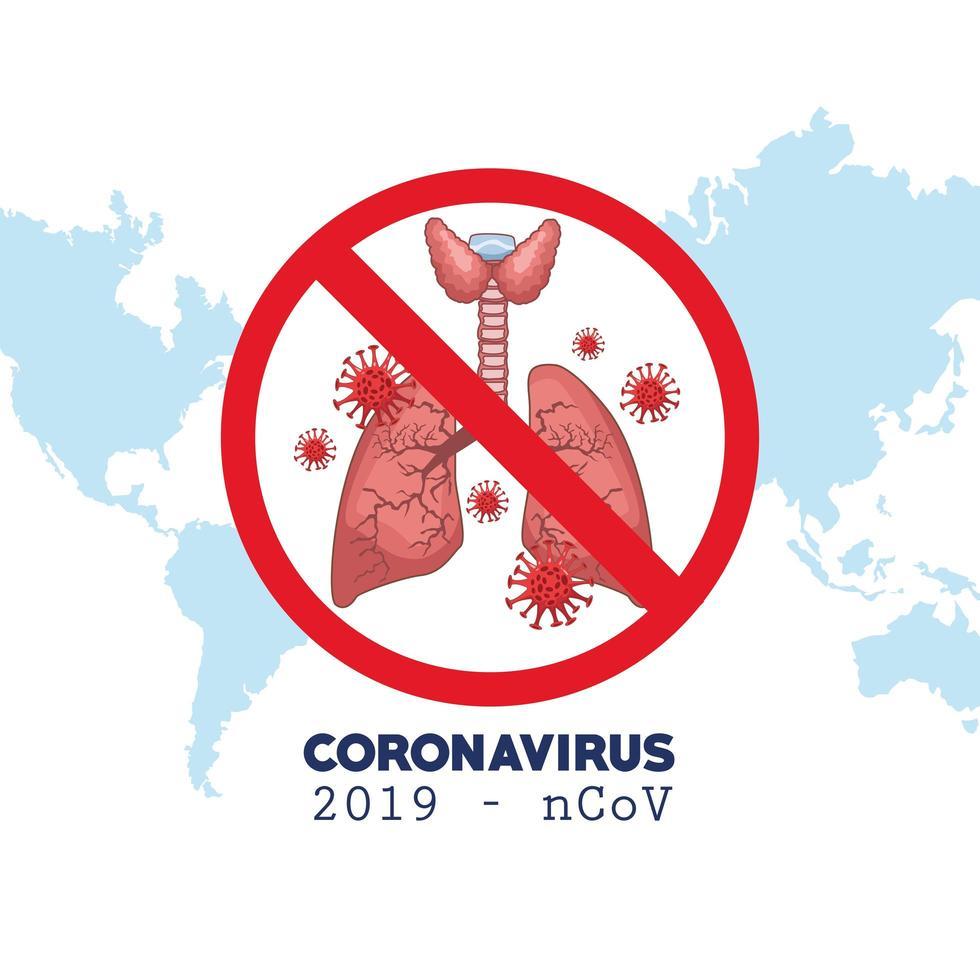 infografica di coronavirus con mappa del mondo e polmoni vettore