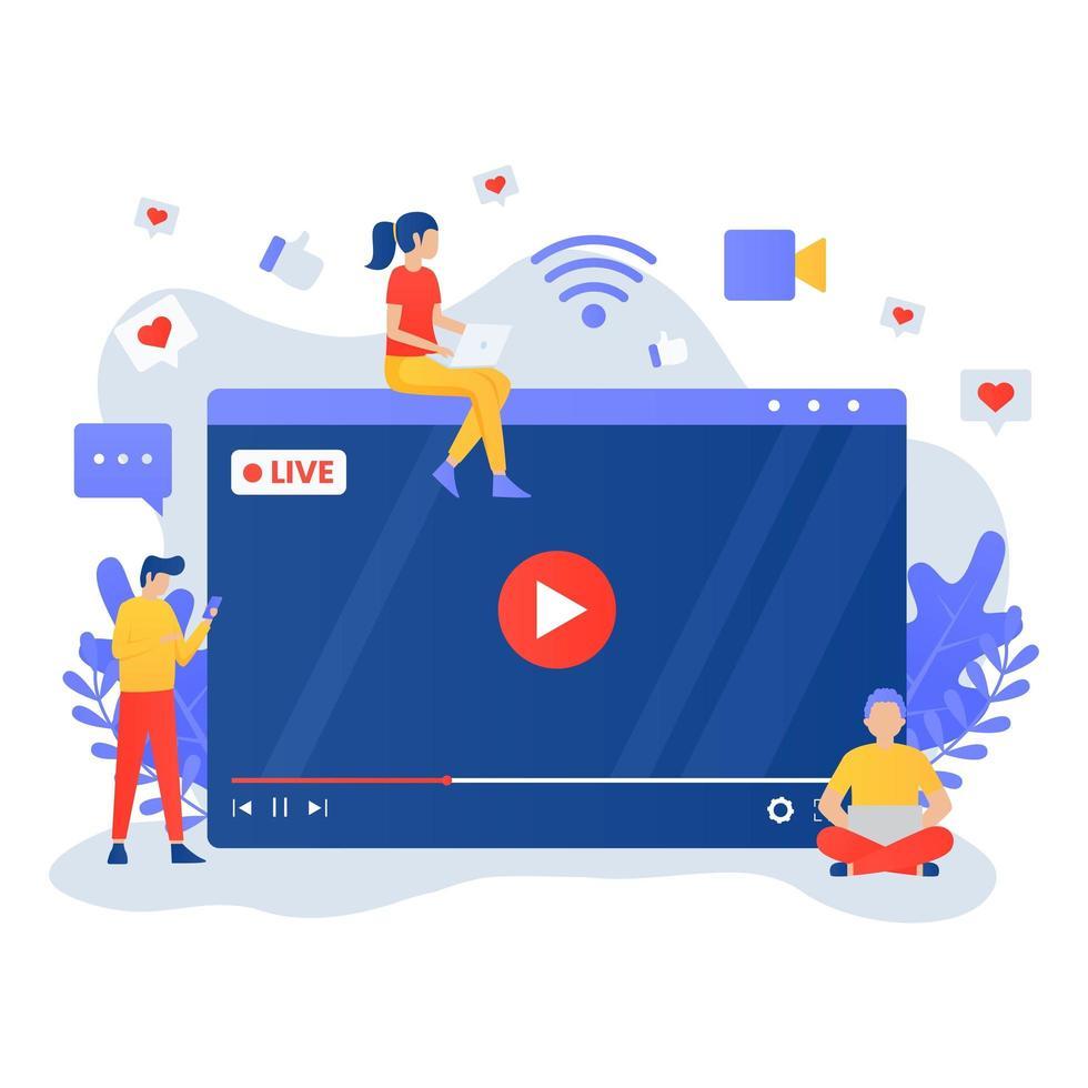 live streaming design piatto con persone intorno allo schermo vettore