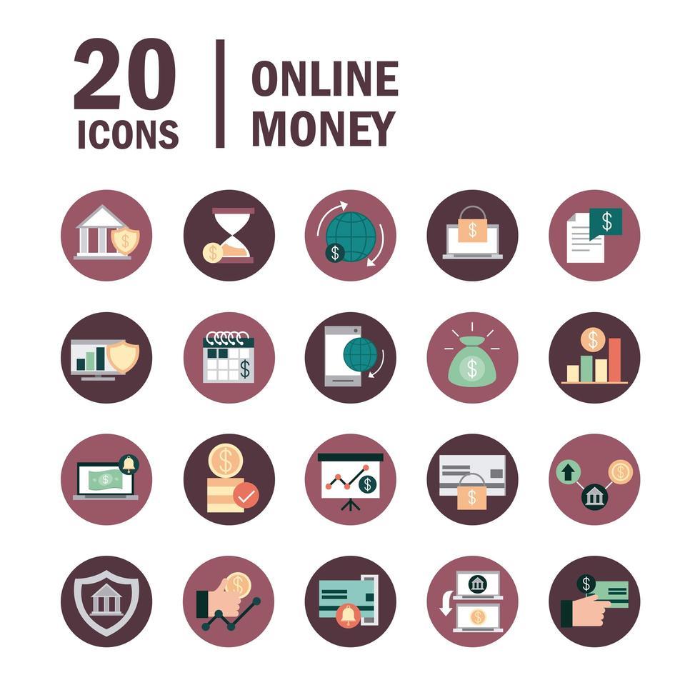 set di icone di mobile banking e finanze digitali vettore