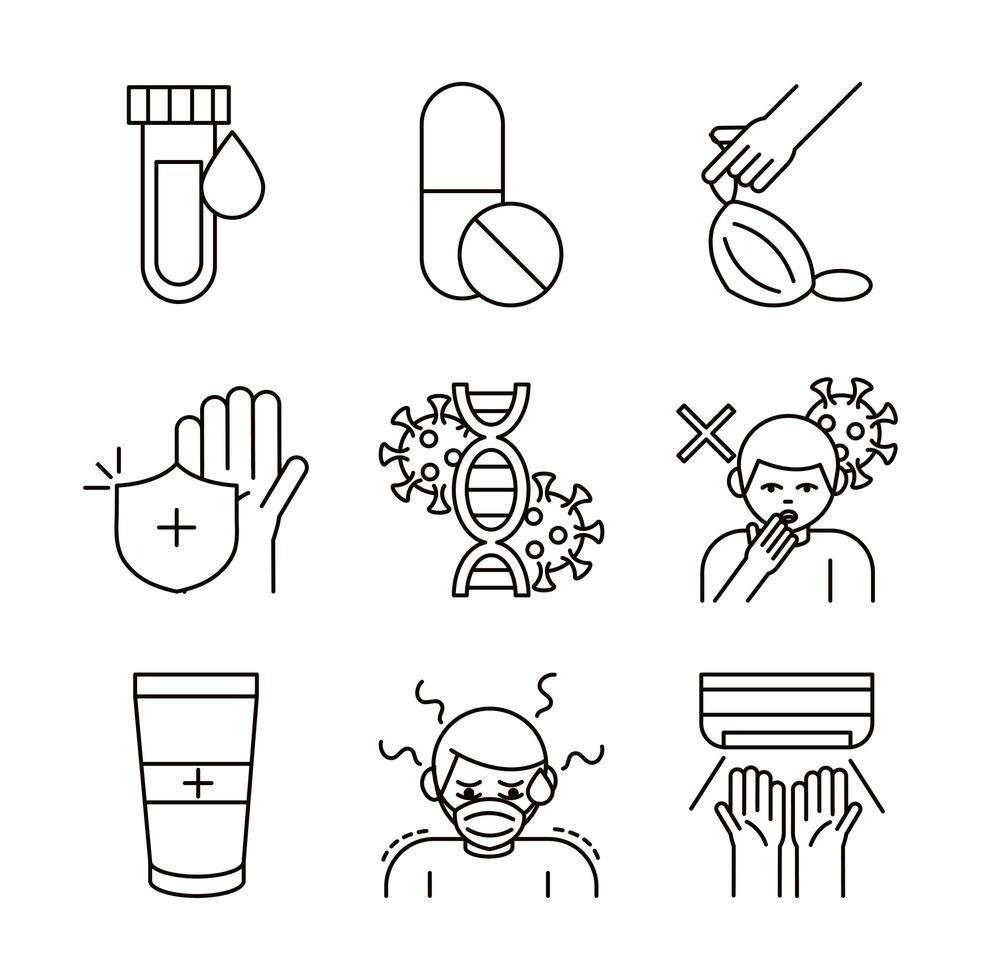collezione di icone covid-19 e coronavirus vettore