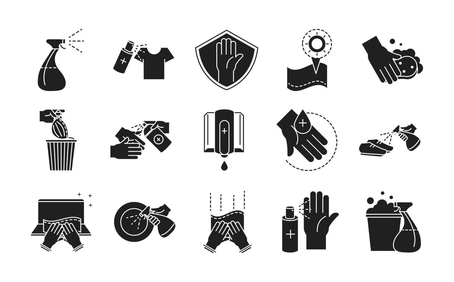 set di icone in stile silhouette di prevenzione e disinfezione vettore