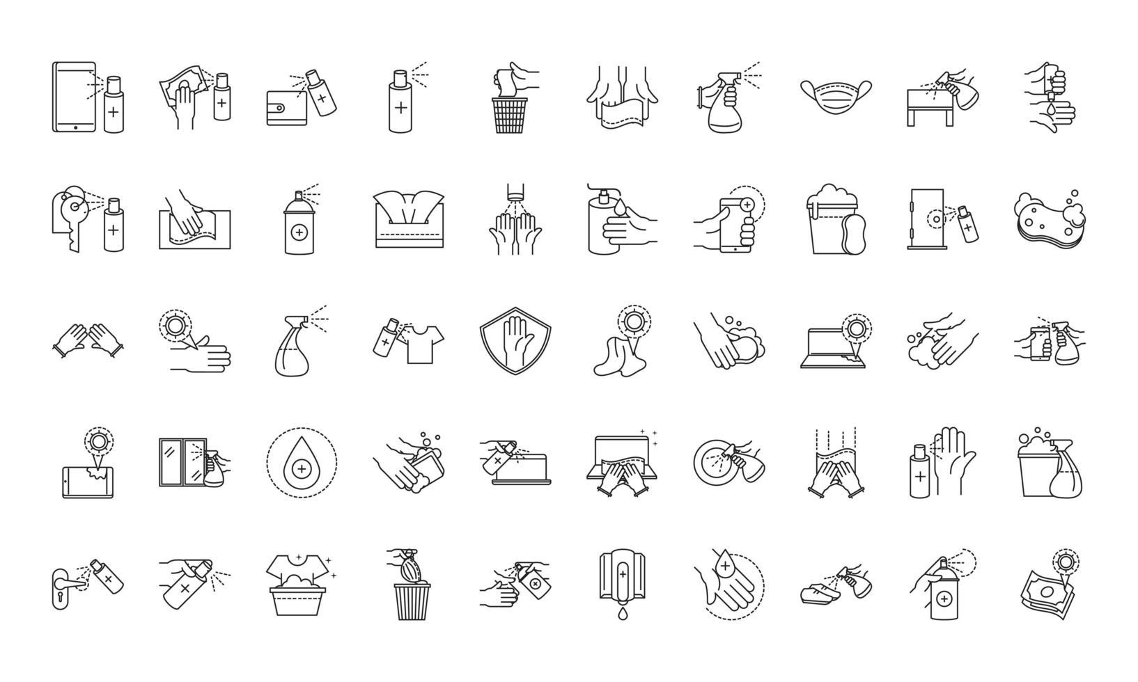 set di icone in stile linea di prevenzione e disinfezione vettore