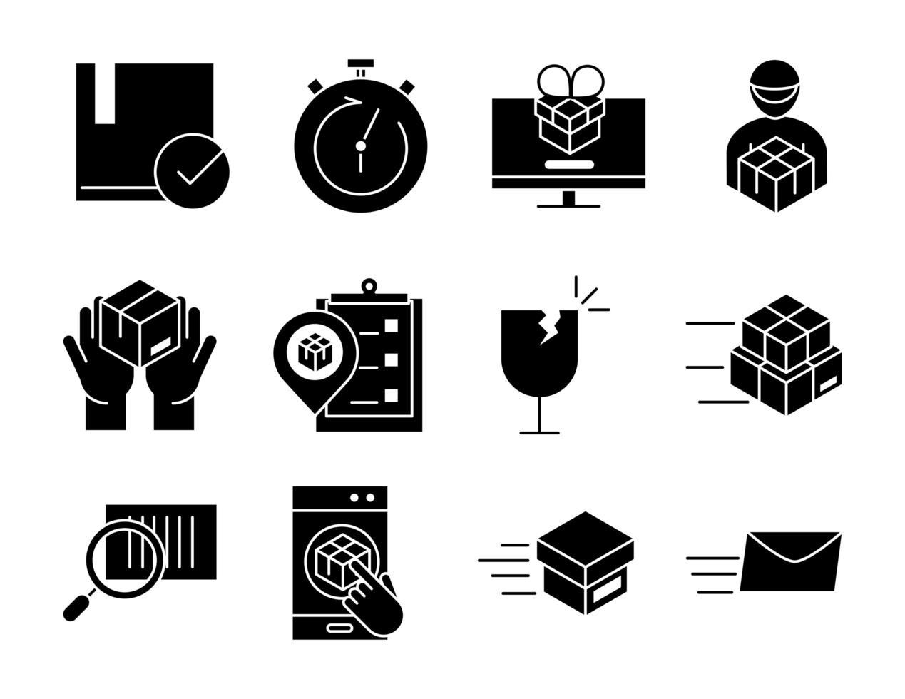 consegna e logistica set di icone nere vettore