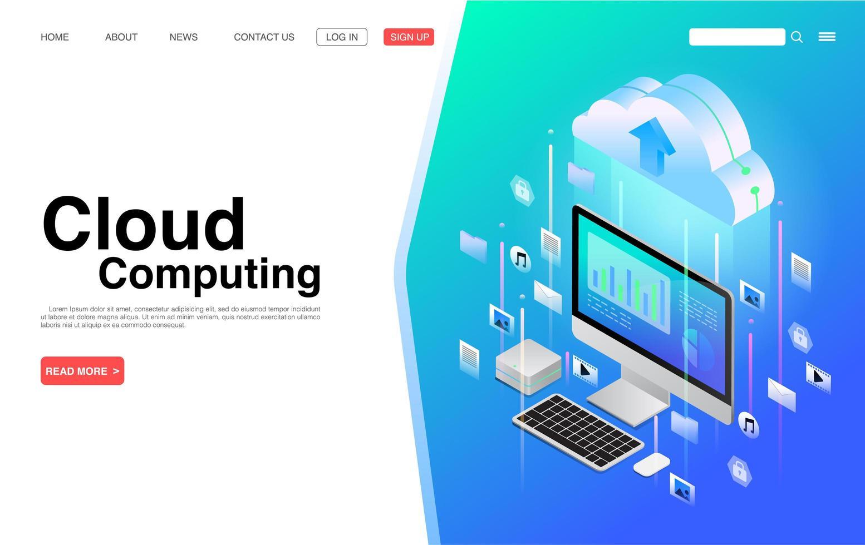 servizi di cloud computing e pagina di destinazione della tecnologia vettore
