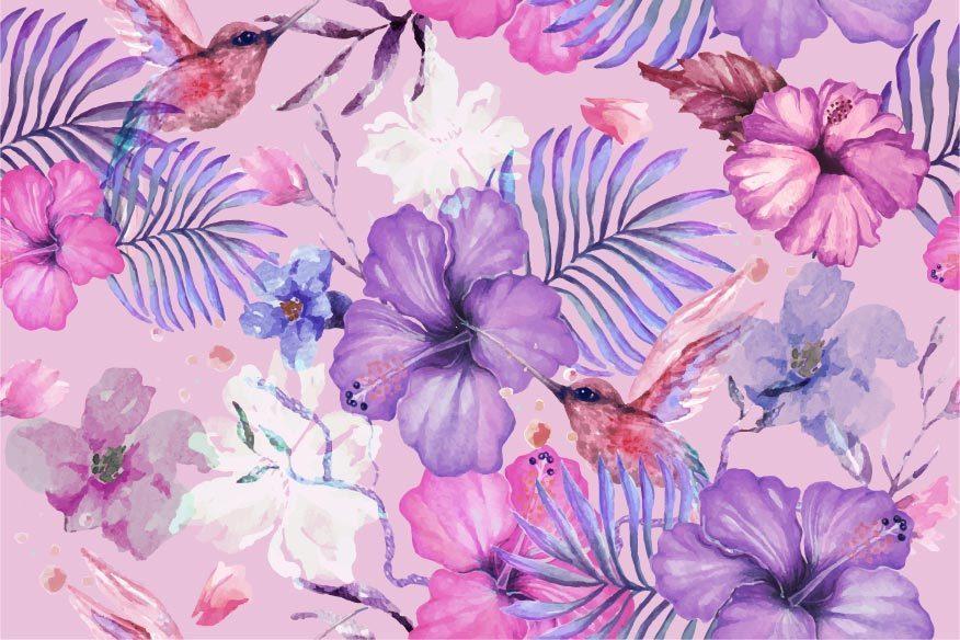 fiori di ibisco e motivo ad acquerello colibrì vettore