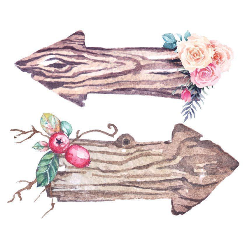 segni di legno a forma di freccia dell'acquerello decorati con fiori vettore