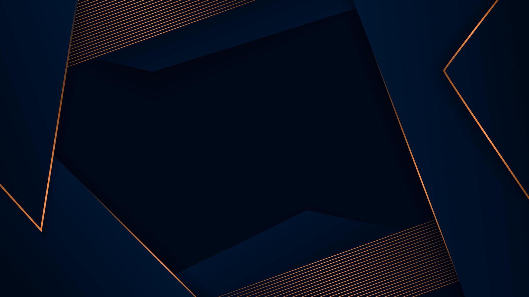 blu scuro lusso poligonale astratto con motivo oro vettore