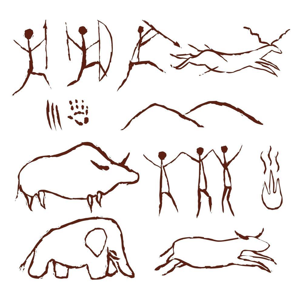 grotta rock pittura simboli di arte antica vettore