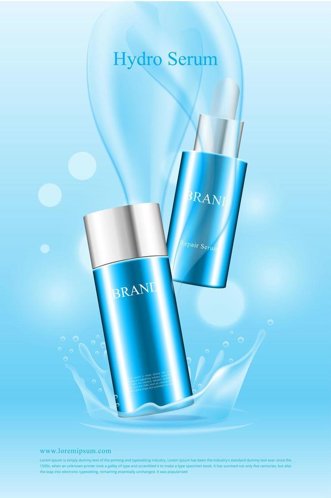poster di prodotti idrici cosmetici di bella forma vettore