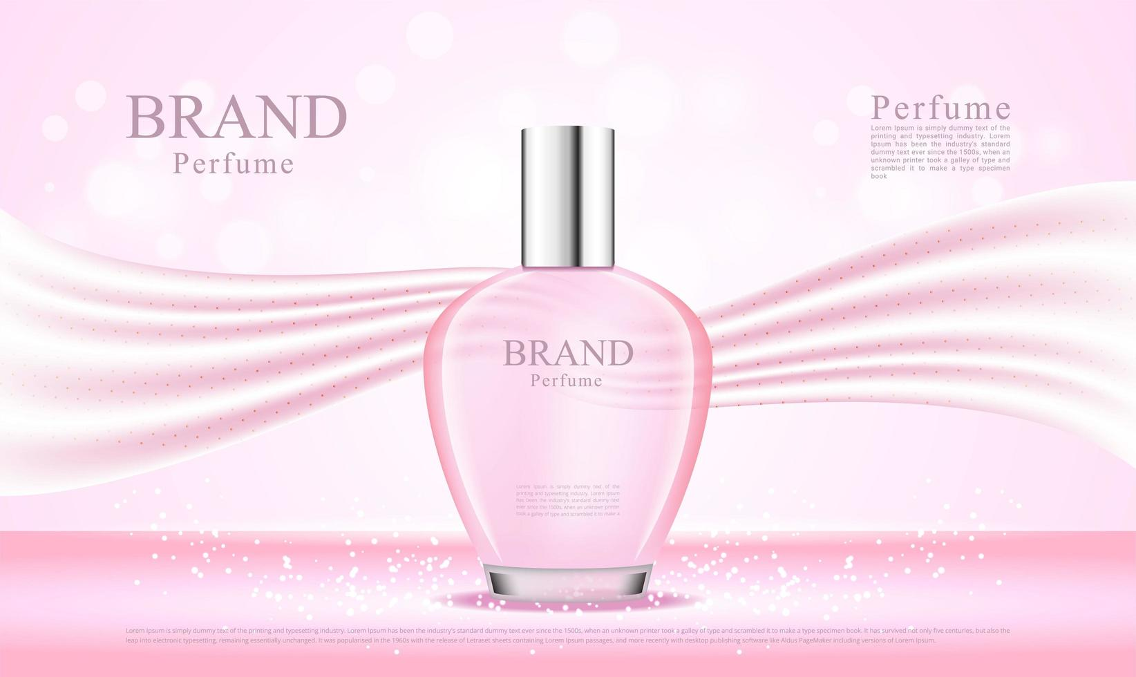 Bottiglia di profumo 3d con tessuto di seta rosa vettore