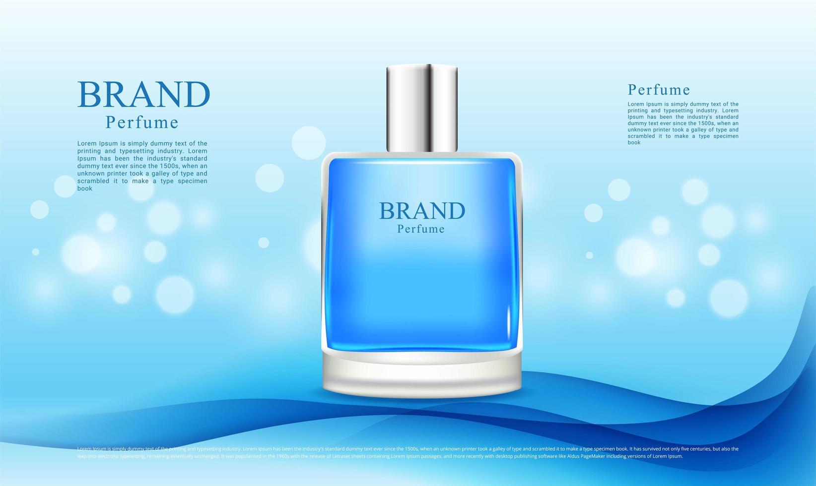 pubblicità di profumi sul design blue wave vettore