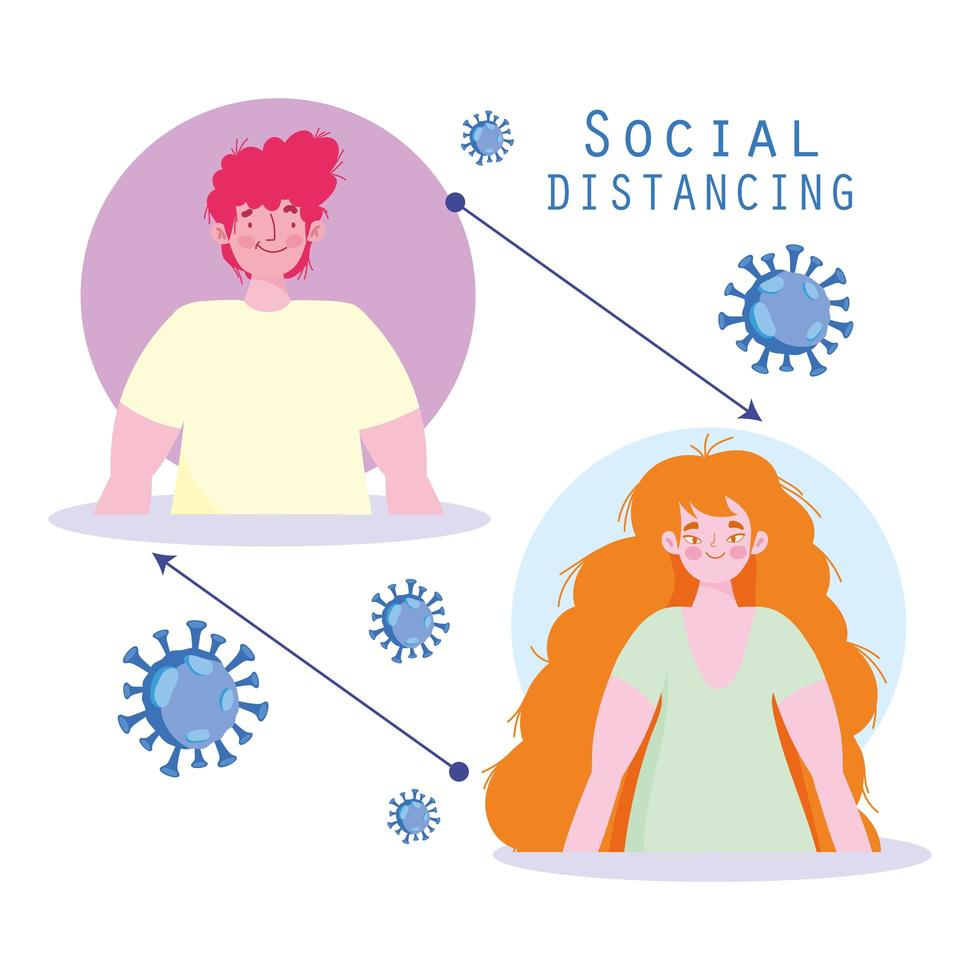 distanziamento sociale dell'uomo e della donna per prevenire l'infezione virale vettore