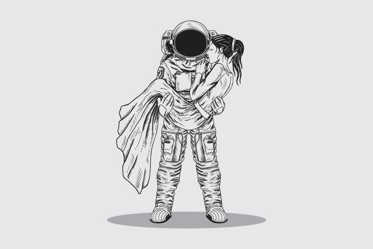 mano disegno astronauta uomo vettore