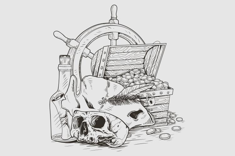 scrigno del tesoro del teschio dei pirati vettore